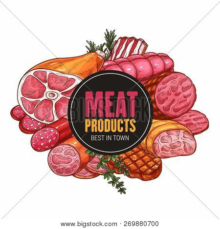 Butcher Shop Meat And Sausages Products. Vector Farm Butchery Beef And Pork, Grill Lamb Ribs, Bacon