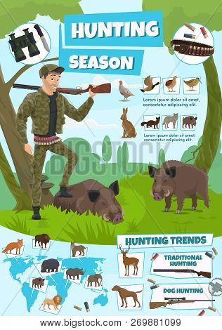 Hunting Open Season Poster, African Safari And Forest Hunt Adventure. Vector Hunter Man With Rifle G