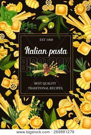 Italian Pasta Menu, Seasonings And Spice. Vector Ravioli And Gnocchi, Tortellini, Rotelle And Risoni