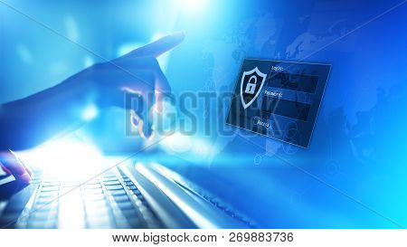 Access Window With Login And Password On Virtual Screen. Cyber Security And Personal Data Protection