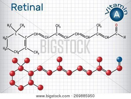 Retinal (retinaldehyde) Is Vitamin A. Structural Chemical Formula And Molecule Model. Sheet Of Paper