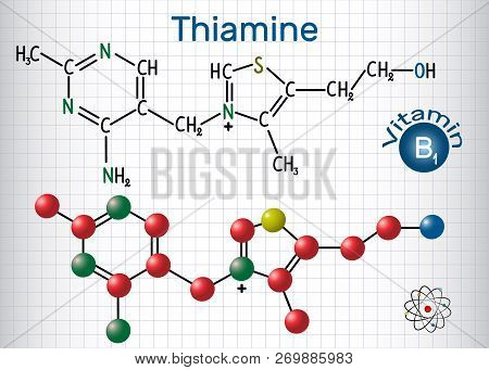 Thiamine (thiamin Or Vitamin B1) , Found In Food, Used As A Dietary Supplement And Medication.  Stru