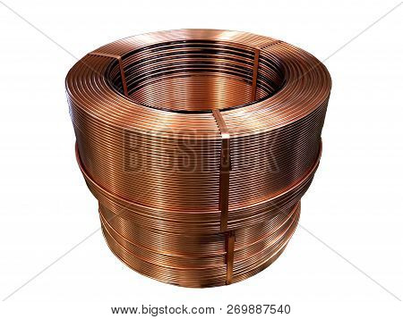 Isolated Of  Coil Of Copper Tube Are Rolling And Packing