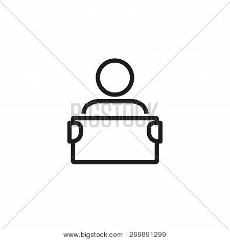 News Presenter Line Icon. News, Media World, Broadcasting. News Concept. Vector Illustration Can Be