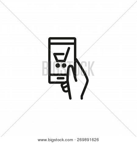 Shopping Line Icon. Shopping, Mobile, App, Smartphone. Internet Shopping Concept. Vector Illustratio