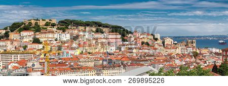 Lisbon Skyline. Panoramic View Of Lisbon Old Town And Sea Port With Ships In Background. Lisbon, Por