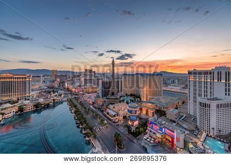World Famous Vegas Strip In Las Vegas, As Seen At Sunrise On July 26, 2018 In Las Vegas, Usa. Planet