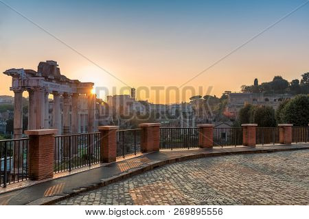 Sunrise At The Roman Forum, Ancient Ruins Of Rome  - Italy. View From Capitoline Hill.