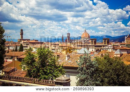Panoramic View Florence Firenze (duomo, Towers, Cathedral, Cupola Del Brunelleschi, Tiled Roofs Of H