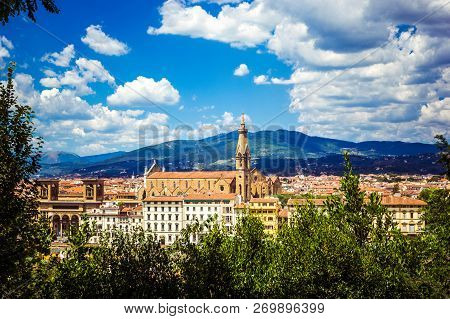 Panoramic view Florence Firenze  - Basilica di Santa Croce (Holy Cross), mountains from Piazzale Michelangelo, top view, Florence, Tuscany, Italy poster