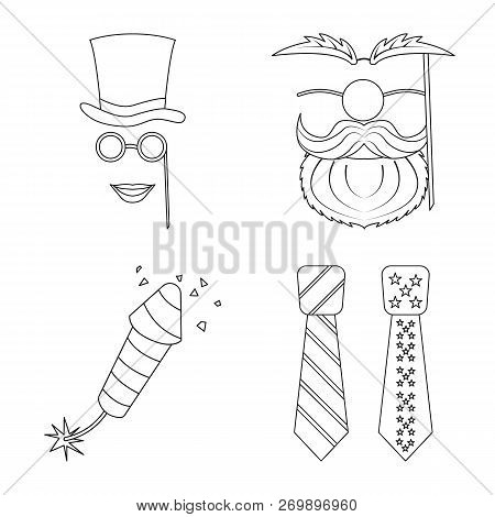 Vector Design Of Party And Birthday Sign. Set Of Party And Celebration Stock Symbol For Web.