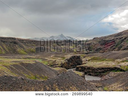 Dramatic Icelandic Terrain With Volcanoes, Canyons, Glacial Rivers, Highland Deserts And Poor Vegeta