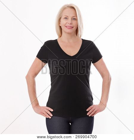 T-shirt Design And People Concept - Close Up Of Woman In Blank Black T-shirt, Shirt Front Isolated.
