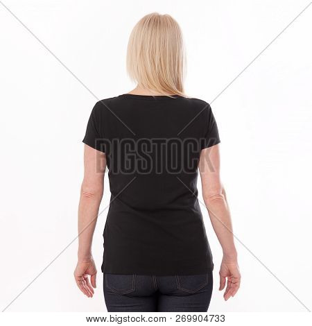 T-shirt Design And People Concept - Close Up Of Woman In Blank Black T-shirt, Shirt Rear Isolated. M
