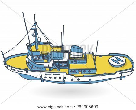 Research Ship, Marine Exploration Boat For Scientists. Outlined Rescue Vessel With Sonar, Blue Yello