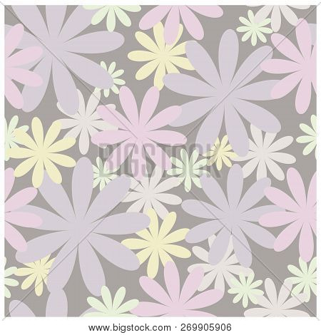 Floral Seamless Vector Pattern In Pastel Colors. For Ease Of Use, The Pattern Is Saved In The Swatch