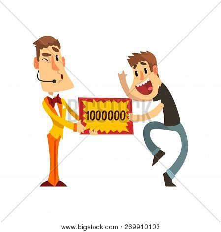 Anchorman And Happy Man Holding Winning Check For One Million Dollars, Lottery, Quiz Show Concept Ve