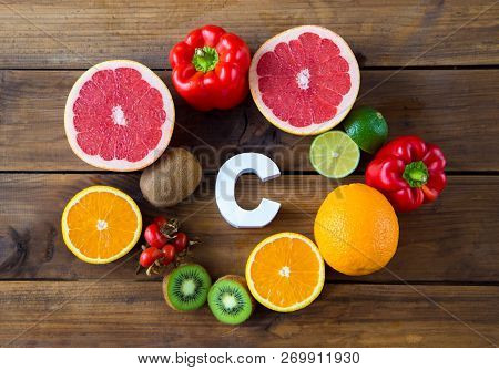 Vitamin C In Fruits And Vegetables. Natural Products Rich In Vitamin C And Word C