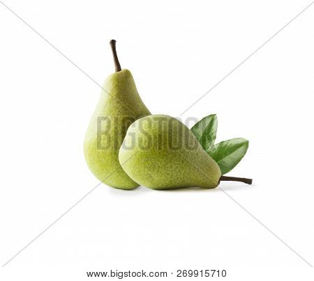 Ripe Pears With Leaves Isolated On A White Background. Two Pears With Copy Space For Text. Green Pea