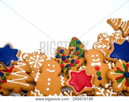 Happy New Year And Merry Christmas Gingerbread On White Background. Christmas Baking. Making Gingerb