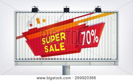 Big Billboard Sale Banner With Three Lights, Gigantic Word Super Sale Seventeen Percent And In Reali