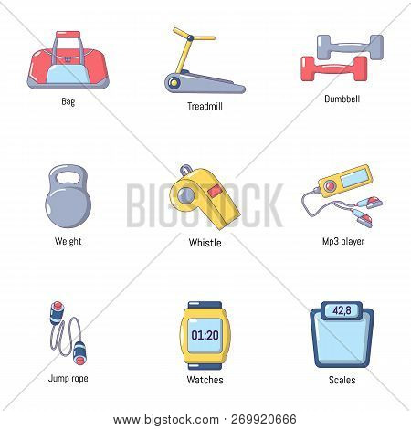 Good Physical Condition Icons Set. Cartoon Set Of 9 Good Physical Condition Icons For Web Isolated O
