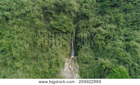 Aerial View Of Waterfall In The Mountains Of Filipino Cordillera. Waterfall In The Mountains. Waterf