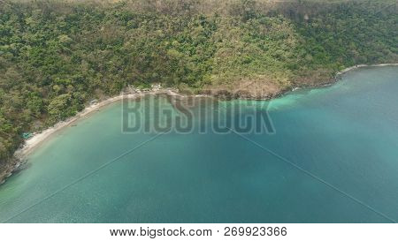 Aerial View Of Coast With Beach In Blue Lagoon. Philippines, Luzon. Coast Ocean With Tropical Beach,