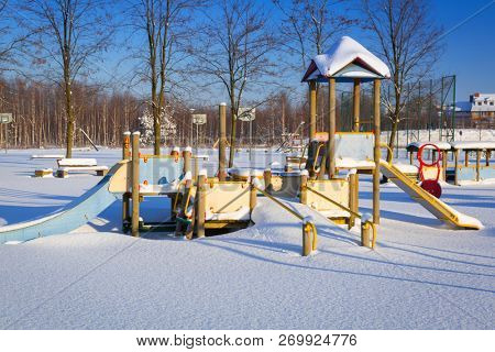 Winter playground in the park after heavy snowfall