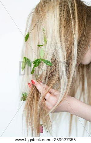 Natural Folk Remedy For Healthy Hair. Organic Shampoo Recipe. Homemade Green Products. Blond Girl We