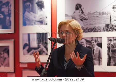 ST. PETERSBURG, RUSSIA - NOVEMBER 15, 2018: Olga Golodets, Deputy Prime Minister of Russia on the opening of photo exhibition during Saint-Petersburg International Cultural Forum
