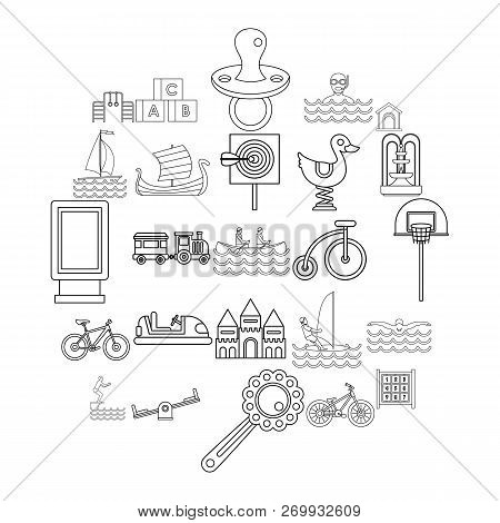 Physical Training Icons Set. Outline Set Of 25 Physical Training Icons For Web Isolated On White Bac