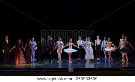 ST. PETERSBURG, RUSSIA - NOVEMBER 16, 2018: Participants of gala-concert Dialog Of Arts bowing after performance on the stage of Hermitage theater during Saint-Petersburg International Cultural Forum