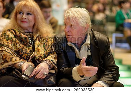 ST. PETERSBURG, RUSSIA - NOVEMBER 17, 2018: Yuri Nazarov, Russian actor starred in the Red Tent movie, with his wife Tatiana during Saint-Petersburg International Cultural Forum