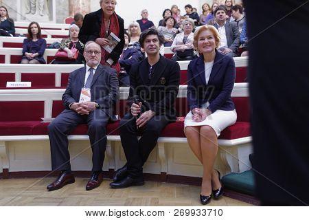 ST. PETERSBURG, RUSSIA - NOVEMBER 16, 2018: Right to Left: Olga Golodets, Nikolai Tsiskaridze, and Vladimir Kirillov dirung Saint-Petersburg International Cultural Forum