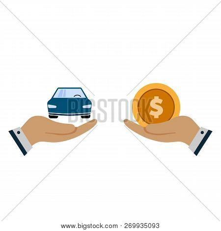 Car With Coin Icon Vector. Buying Car Button In Flat Style. Save Money For Buying Car. Hand