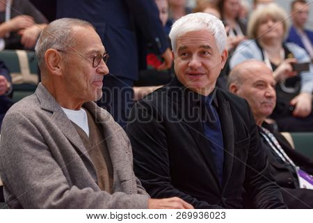 ST. PETERSBURG, RUSSIA - NOVEMBER 17, 2018: Andrey Konchalovsky, Russian film director (left) and Hans-Joachim Frey, German stage director on the session in the last day of SPb Cultural Forum