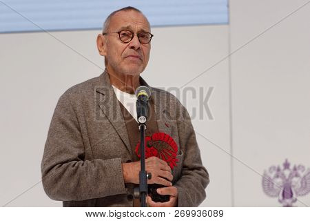 ST. PETERSBURG, RUSSIA - NOVEMBER 17, 2018: Andrey Konchalovsky, film director become Russian Seasons Ambassador for the next year during Saint-Petersburg International Cultural Forum