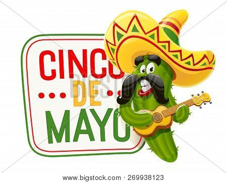 Character For Cinco De Mayo Celebration. Green Cactus Jalapeno In Suit Mariachi With Guitar And Somb