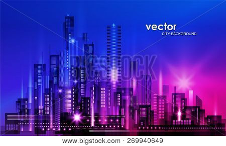 City Skyline Silhouette At Sunset, Illustration With Architecture, Skyscrapers, Megapolis, Buildings