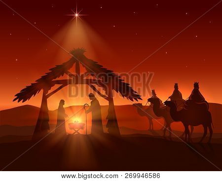 Christian Christmas Background. Birth Of Jesus, Shining Star And Three Wise Men On Night Background,