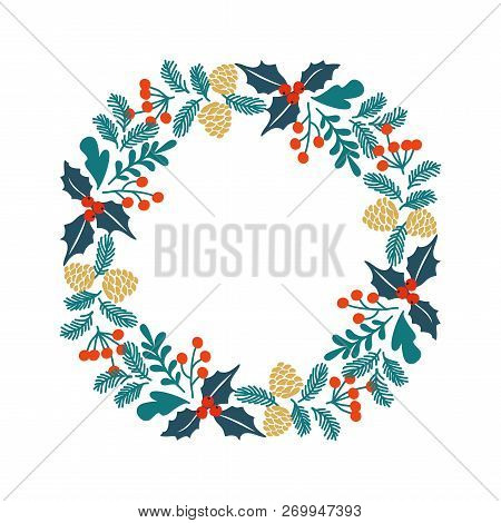 Winter Christmas Frame, Vector Illustration. Christmas Greeting Card With Wreath.  Perfect For Chris