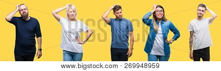 Collage of group people, women and men over colorful yellow isolated background confuse and wonder about question. Uncertain with doubt, thinking with hand on head. Pensive concept.