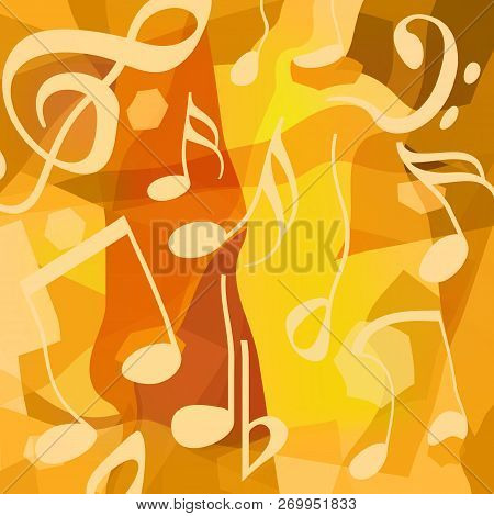 Abstract Creative Art Music Background With Liquid Musical Notes