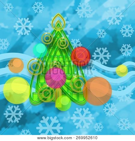 Christmas Tree, Colorful Balls And Snowflakes On Ice Winter Background