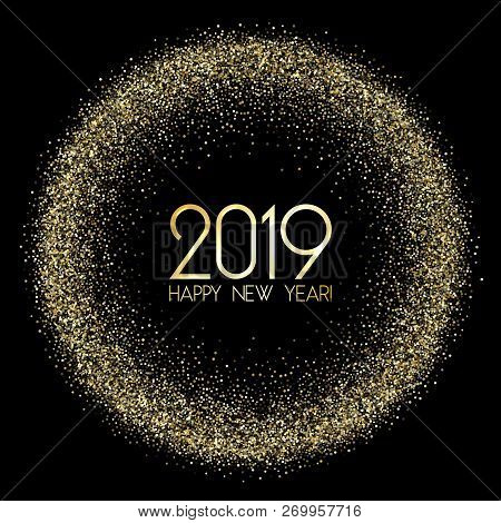 Premium 2019 Happy New Year Card, Gold Confetti. 2019 Holiday Card, Banner Or Party Poster Design Wi
