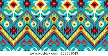 Ikat Geometric Folklore Pattern. Ethnic Folk Ornament Texture. Tribal Mengikat Textile. Aztec, India