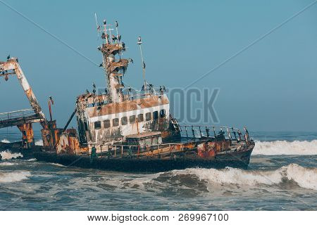 Abandoned And Derelict Old Shipwreck Zeila At The Atlantic Coast Near Swakopmund And Henties Bay, Fa