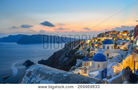 Santorini, Greece - Oct 2, 2018. Night Scene Of Santorini Island, Greece. Santorini Is The Most Popu