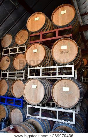 America; San Luis Obispo; Usa - July 15 2016 : Barrel In The Cellar Of The Claiborne And Churchill W